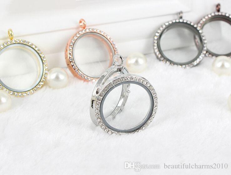 En gros / 30 MM 4 couleurs cristal rond en verre magnétique flottant médaillon pendentif pour chaîne collier