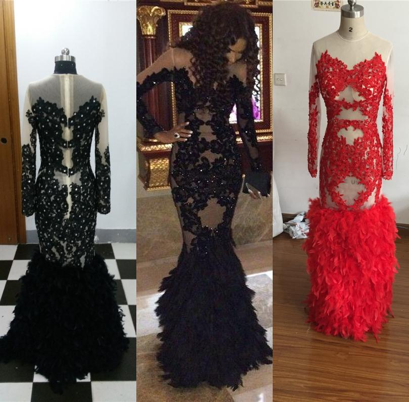 2059fda91c0 Zuhair Murad Long Sleeves Evening Dresses 2016 Mermaid Black Feather Sheer  Neck Applique Dresses Evening Wear Plus Size Lace Formal Gowns Uk Prom Dress  ...