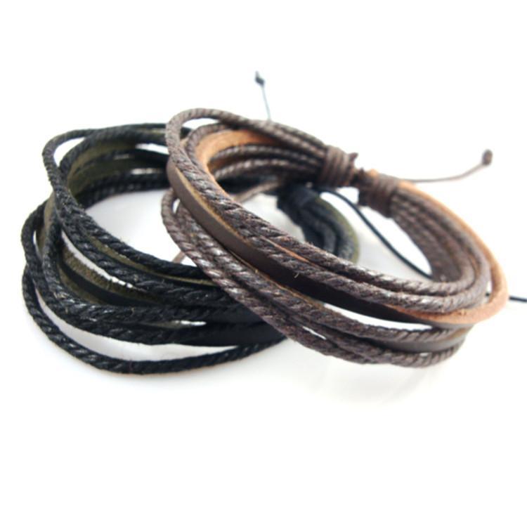 Men\'s Leather Bracelet Men Multilayer Woven Twist Pure Leather ...