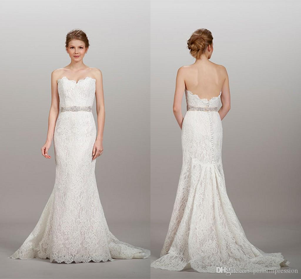 2015 Luxury Lace Mermaid Wedding Dresses Belt Sexy Backless Bridal Gowns Strapless Zipper Back Sleeveless Draped Spring New Style