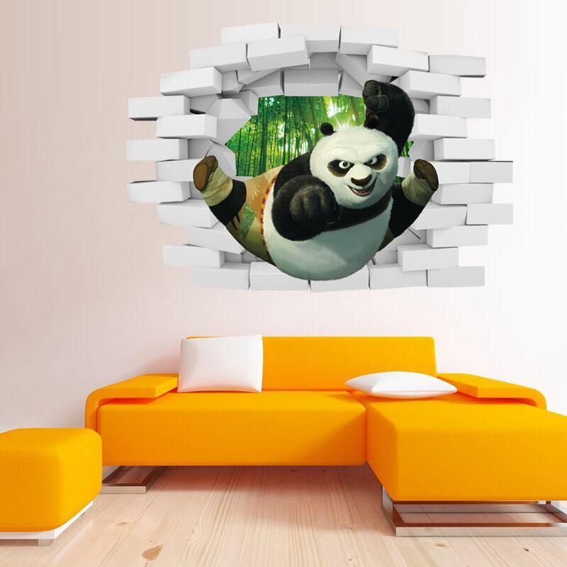 2015 الباندا 3d مجسمة ملصقات الحائط غرفة الاطفال للإزالة الزخرفية جدار الشارات الكرتون خلفيات عيد الميلاد جدار الفن ملصقات 50 * 70 سنتيمتر