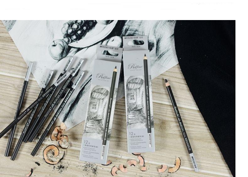 Marco Fine Art 12 Stuks / Box Artist Charcoal Sketching Potlood Houten niet-giftige schilderkunstartikelen