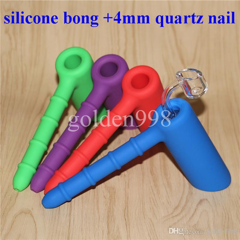 Atacado Silicon Rigs Silicone Hookah bongos de bong de bongo de silicone com Clear 4mm 18.8mm quartzo masculino unhas
