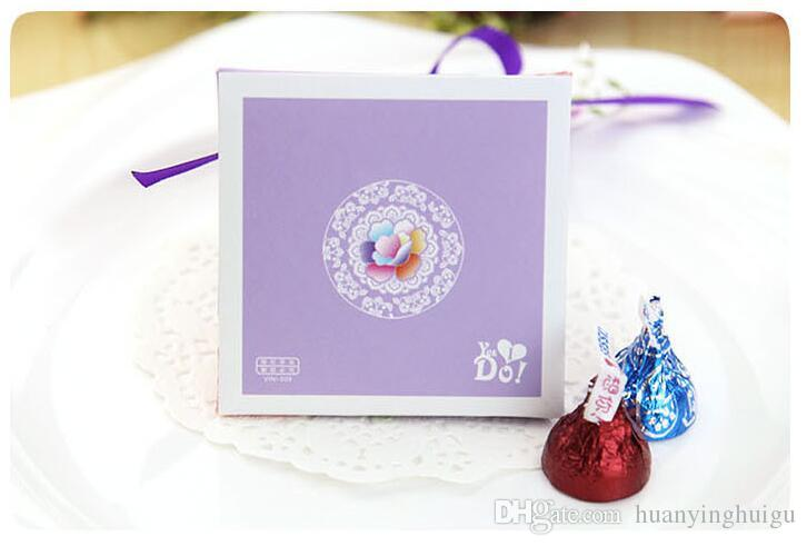 European style blue pink Pearl paper triangle pyramid Wedding box Candy Box gift boxs wedding favour boxes TH147