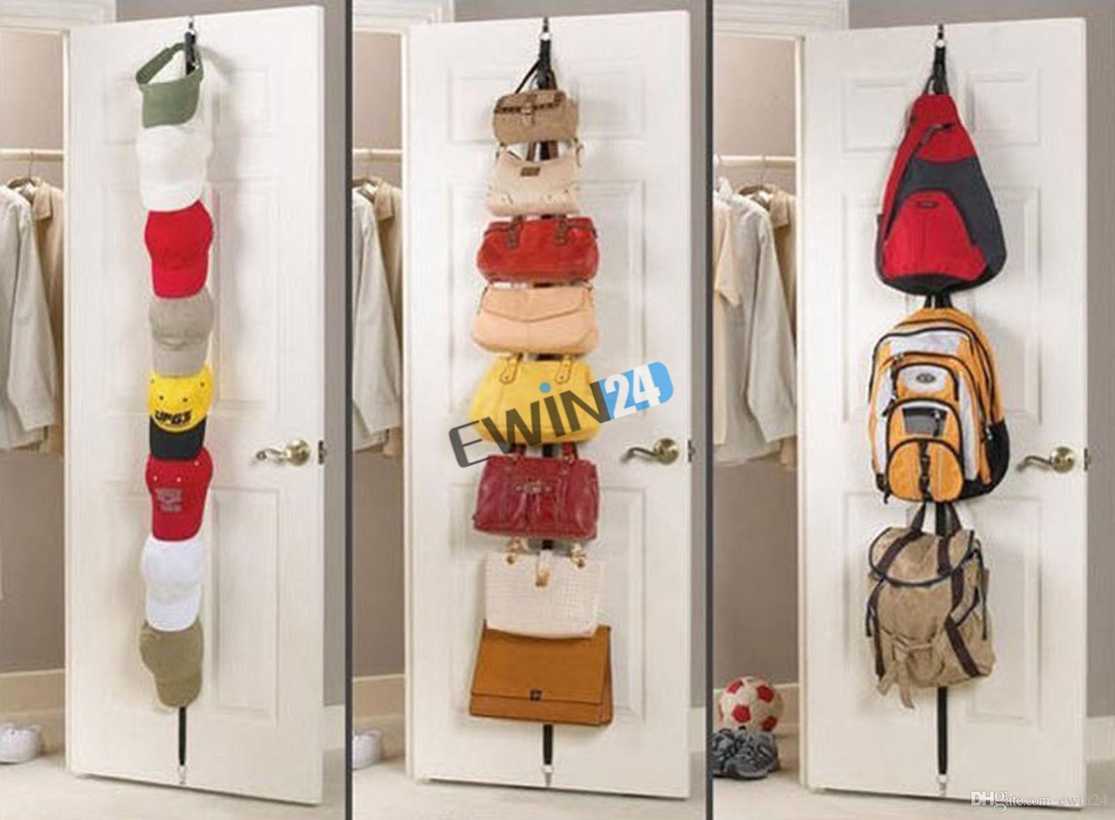 Новый регулируемый над дверными ремнями вешалка шляпа сумка пальто вешалка для одежды организатор 8 крючков 5 шт.