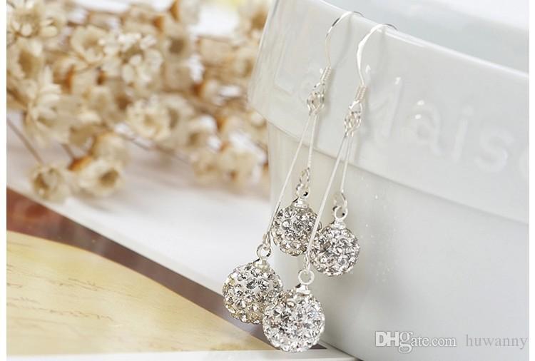 Shamballa فضة إسقاط أقراط مجوهرات استرخى كريستال نمساوي للحزب هدية 6MM + 8MM الأزياء والمجوهرات بالجملة - 0007WH