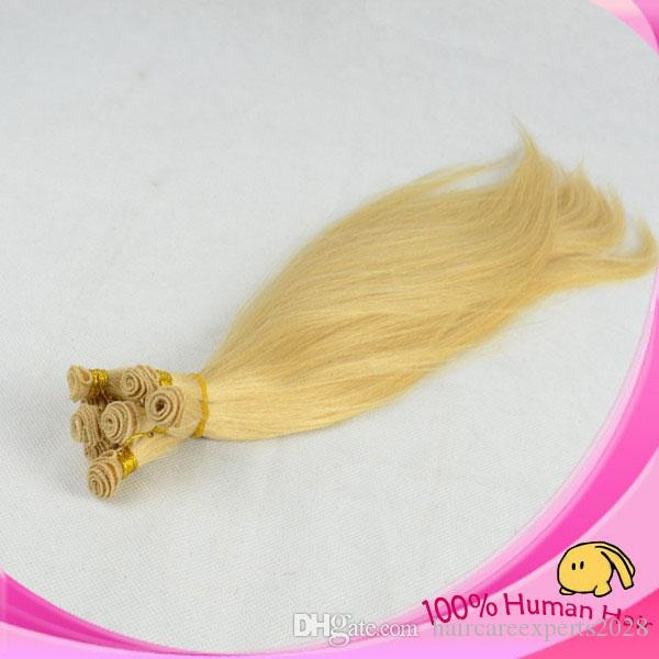 High Quality #613 Malaysian Virgin Hair Weft Natural Straight Hand Tied Weft In Human Hair No Shedding No Tangle