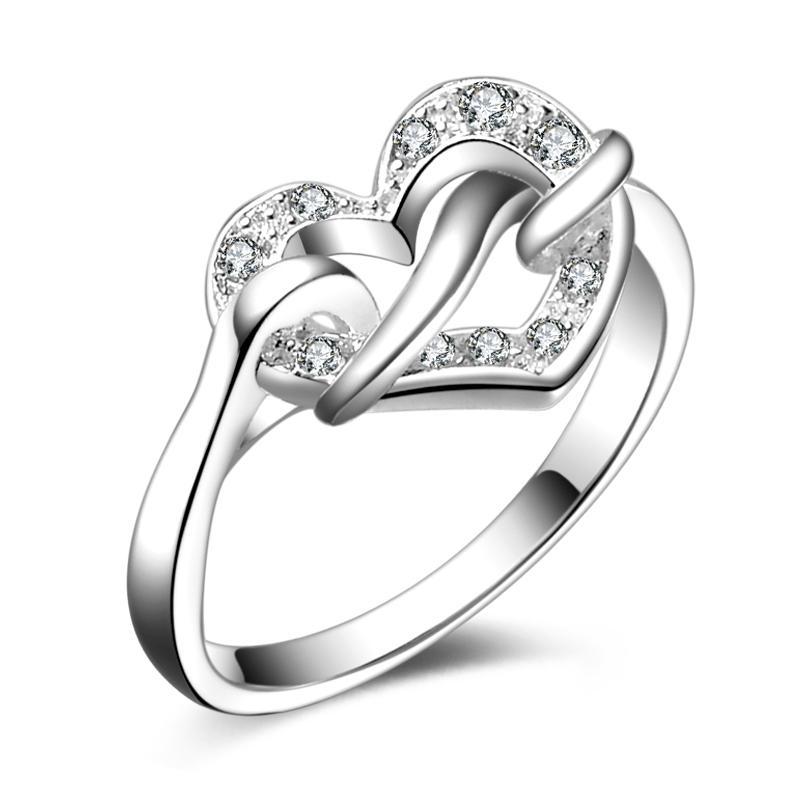 Envío gratis nueva joyería de moda de plata esterlina 925 nudo corazón blanco diamante con pavé zircon anillo venta caliente regalo de la muchacha 1724