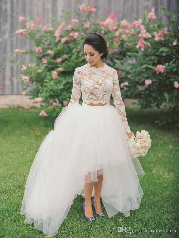 High Neck High Low Lace Wedding Dresses Jewel Long Sleeves Bridal Gowns Tulle Layers Illusion Two Pieces Wedding Dress Cheap