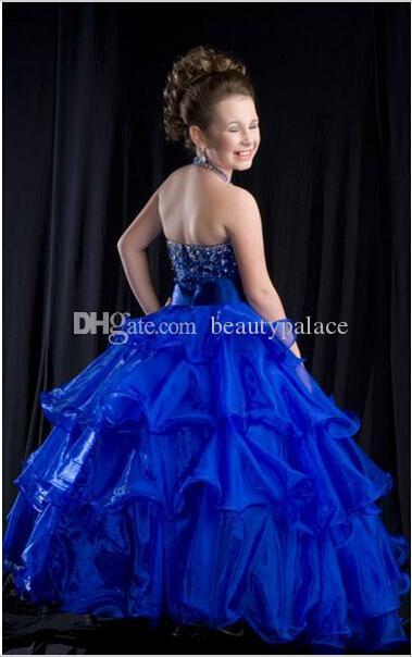 Boże Narodzenie Blue Halter Flower Girl Dress Girl Spódnica Princess Spódnica Party Spódnica Pagewant Spódnica Custom Made Size Girl's Pagews Sukienki