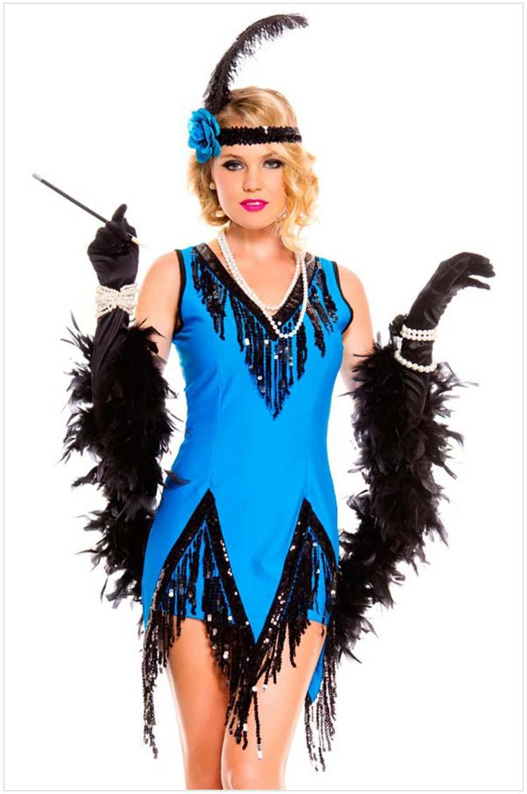2015 plus size christmas halloween costumes for women clothing uniform for women halloween party cosplay blue costumes blue sequin tassel - Blue Halloween Dress