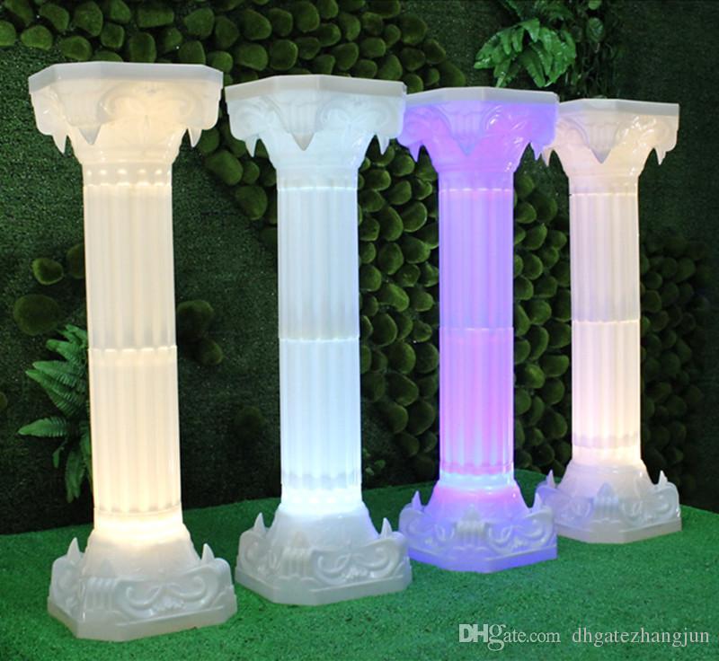 Yeni Varış Düğün Roma Sütun Hoşgeldiniz Alan Ayağı LED Işıkları ile Parlak Parti Dekorasyon Malzemeleri