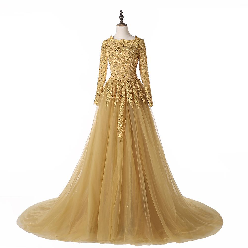 Real Image Gold Vintage Wedding Dresses 2019 New Beaded Sequined Crystal Court Train Scoop Neckline Tulle Lace Long Sleeve Bridal Gowns W599