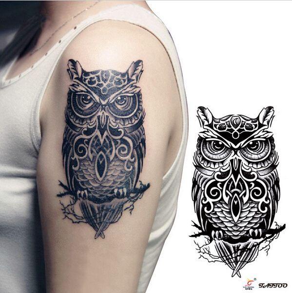 Temporary Tattoos Large Black Owl Arm Fake Transfer Tattoo Stickers ...