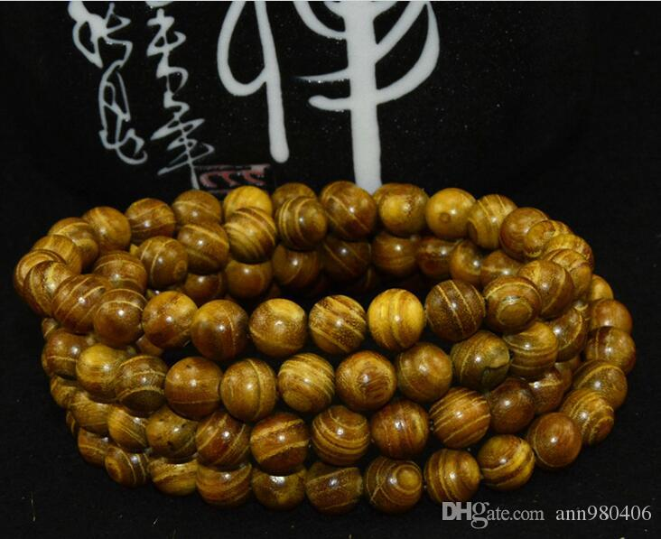 2017The New Fashion Gold sandalwood Buddha pearl bracelet 108 0.6 0.8 men and women natural smooth lines free ship