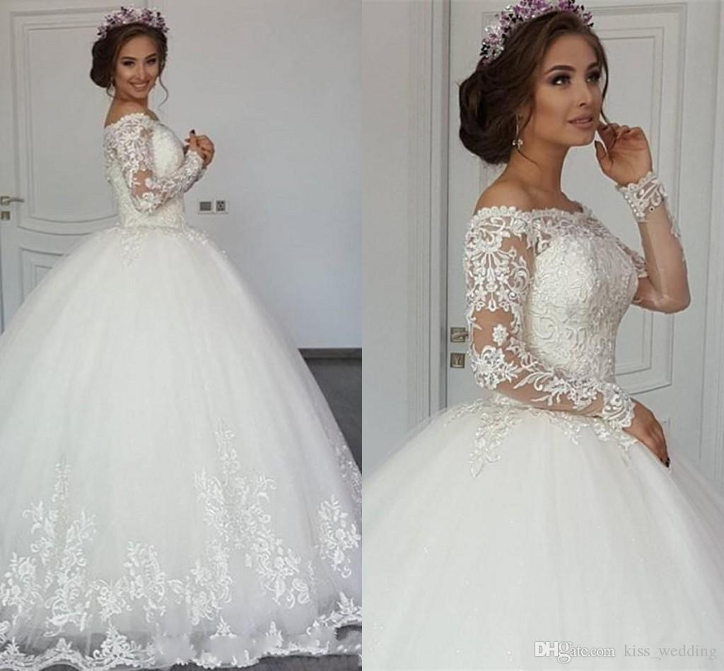 Luxury Wedding Dresses From China Lace Ball Gown Puffy Off The Shoulder Long Sleeves Cheap Wedding Gowns Appliqued Custom Quality