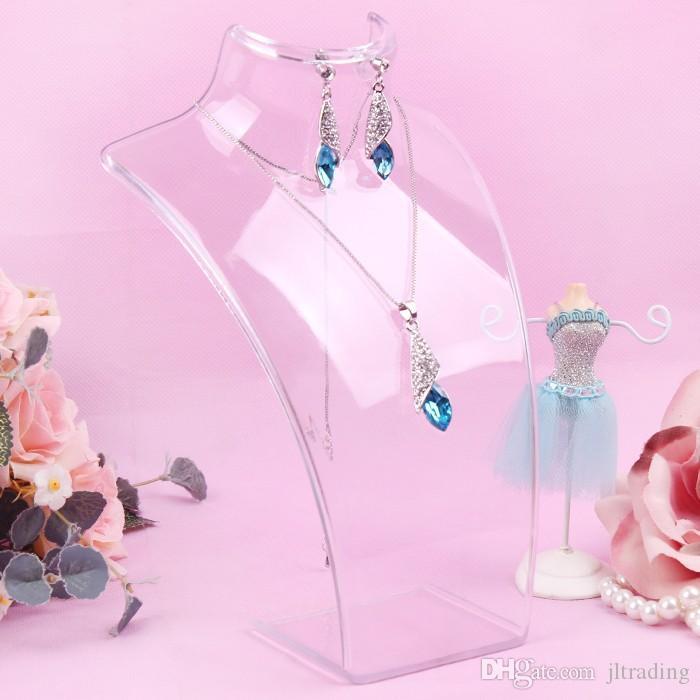 Monili di modo Display Busto Busto Scatola di immagazzinaggio Acrilico Porta gioielli Manichino orecchini Hanging Collana Stand Supporto Bambola