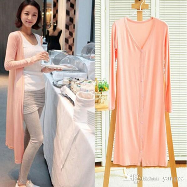2016 Spring Womens Casual Long Sleeve Cardigan Knit Knitwear Soft Modal Bamboo Sweater Coat Long Maxi Wraps Outwear M115