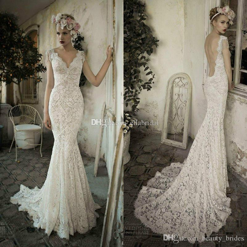 100 Real Picture Mermaid Lace Wedding Dresses Backless V Neck Cap