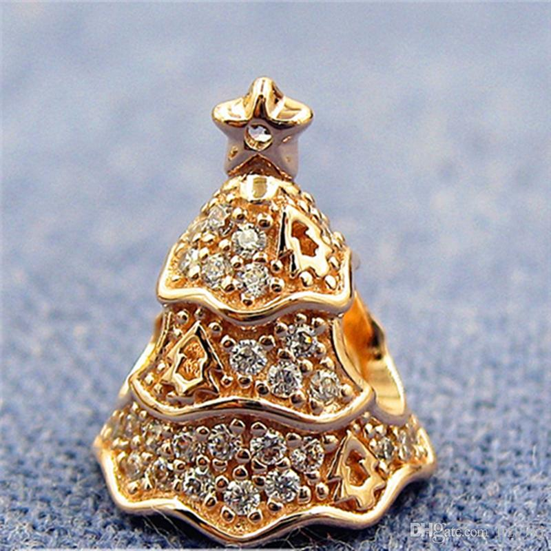 Rose Gold Plated Twinkling Christmas Tree Charm Bead With Cz Fits European Pandora Jewelry Bracelets Necklaces Necklaces Pendants