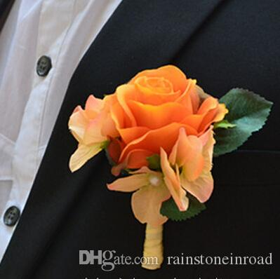 Peach Garden Rose Boutonniere 2017 party silk fabric artificial rose boutonniere wedding
