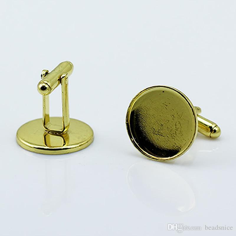 16mm 라운드 카보 숑 쟁반으로 황동 수제 커프스 단추를 만드는 보석을위한 Beadsnice 커프스 단추 부품 ID8896