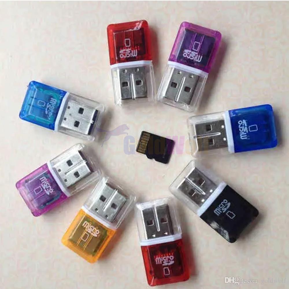 Haute Qualité Haute Vitesse Cristal Transparent USB 2.0 TF Flash Mémoire T-Flash Adaptateur Lecteur de carte micro sd pour 4gb 8gb 16gb 32gb 64gb Carte TF
