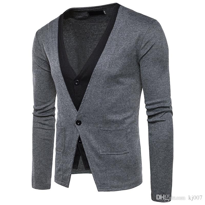 New Design Fake two-piece Sweater Men s Brand V-neck Gentleman Cardigan With Pocket Man Sweaters Pockets Single Button Cotton