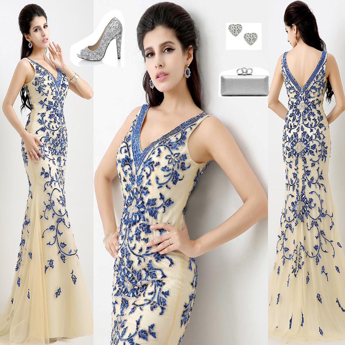 Chinese Style 100% Real Image Mermaid Evening Dresses With V Neck ...
