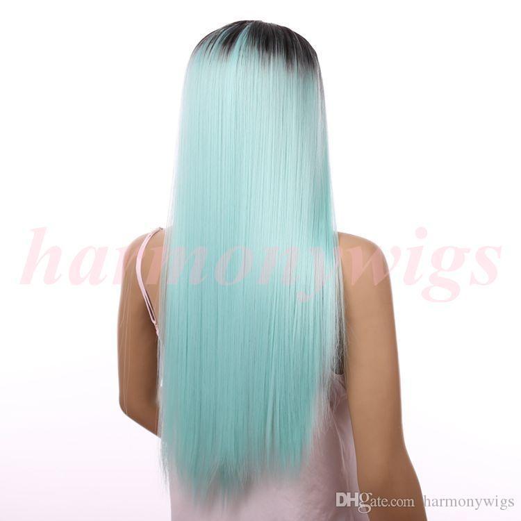 Дешевые кружева передние парики 20 дюймов ombre цвет шоколад Черный мята зеленый синтетические термостойкие парики волос горячие продажа