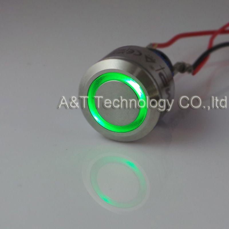 Frete grátis de Metal anti vandalismo botão 220 v 12 v 24 v amarelo verde anel de olho de anjo iluminado trava momentânea em off switch