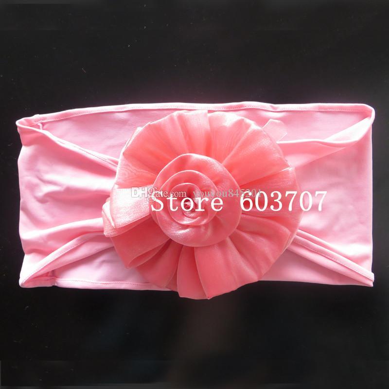 Бесплатная доставка Новый продукт: 100шт Фиолетового спандекс диапазон с большим цветком из органзы для Chivari Председатель использование