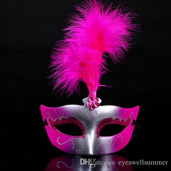 التي هالوين عيد الميلاد ازياء المرأة الريش الملونة قناع قناع تنكر حزب الرقص الوجه للمرأة