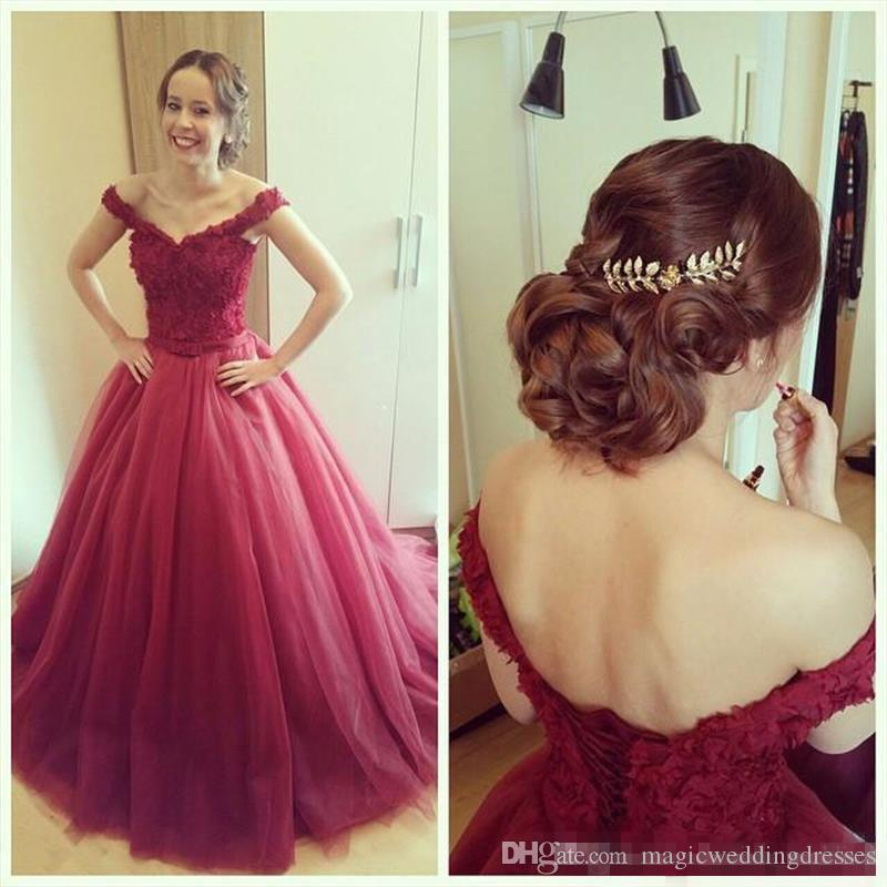 2017 New Burgundy Long Prom Dresses Off-the-Shoulder Sexy Sweep Train Princess Lace Tulle Formal Evening Gowns Custom Made Hot Sales