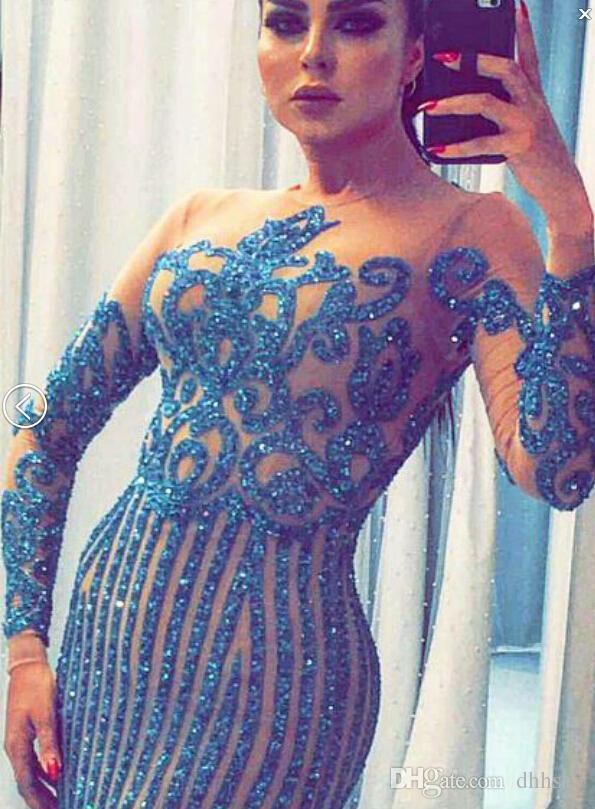 Вечернее платье Yousef aljasmi Labourjoisie синий Charbelzoe Русалка О-образным вырезом с длинным рукавом Белый кристаллы Ким Кардашьян Zuhair Мурад