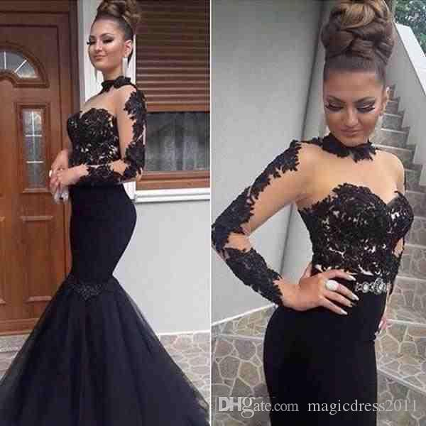 Gorgeous Black Prom Dresses Evening Wear Lace Applique Long Sleeve High Neck Mermaid Party Dress Illusion Formal Special Occasion celebrity