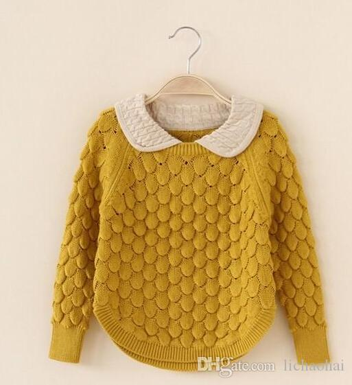 Children Clothing Girl Crochet Hook Flower Pullover Kids Wool Clothes  Knitted Lampel Sweater Childs Warm Jackets Baby Sweaters For Girls Toddler  Sweaters To