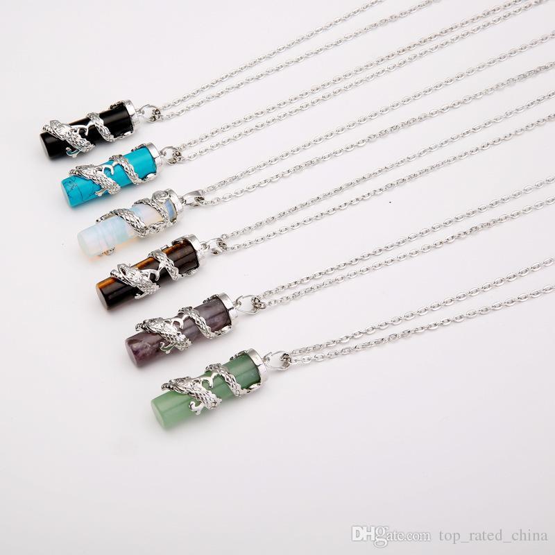 Fashion Women men Jewelry Gemstone Rock Crystal Quartz Chakra Natural Stone bibcock dragon columns Charm statement Pendant Necklace