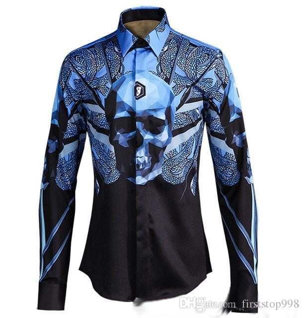 84cfdb04268 Men Shirts 2017 New 3d Printing Design Snake Skull Original Classic Fashion  Young Man of Cultivate One s Morality Shirt Mens Shirts Shirts Online with  ...