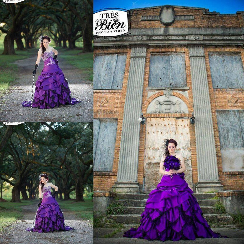 Hot Sale Sweetheart Corset Gothic Purple Wedding Dress: Alternative Gothic Purple And Black Wedding Dresses Ball