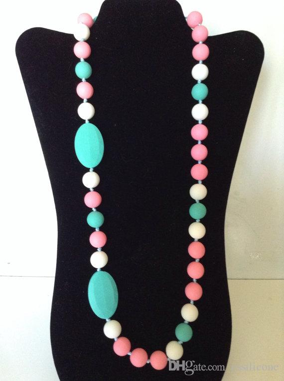 Turquoise, Pink & White Mutli-Color Silicone Teething Necklace for Mommy! BPA Free! FDA Approved food-grade Silicone Beads!