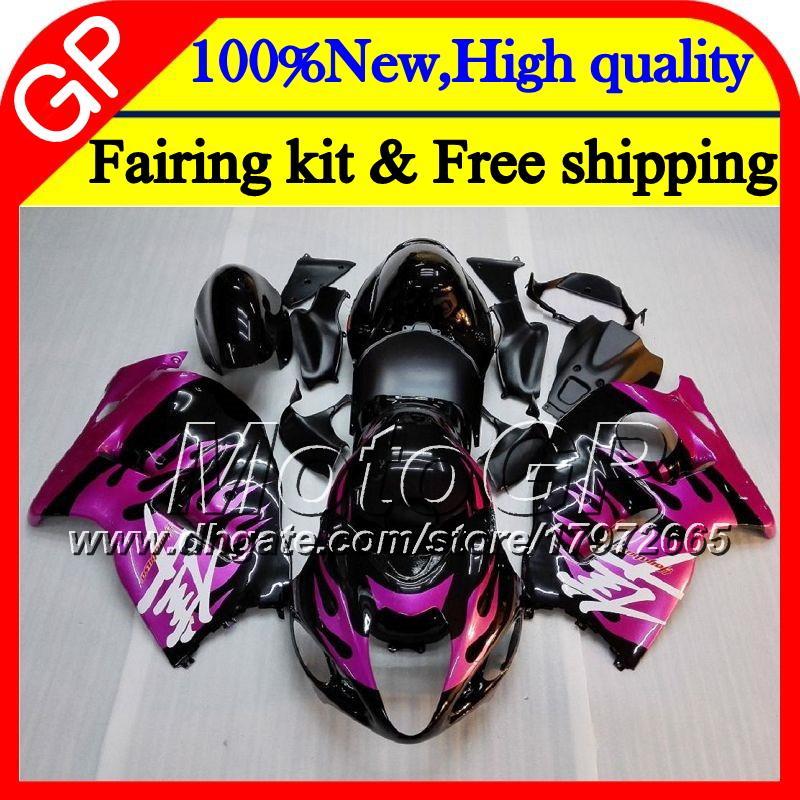 Body For SUZUKI Hayabusa GSXR1300 96 07 1996 1997 1998 41GP31 GSXR 1300 Pink flames GSXR-1300 GSX R1300 1999 2000 2001 Motorcycle Fairing
