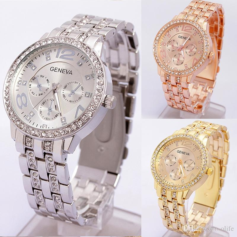 6d18b333c791 ... De Lujo De Cuarzo Diamante De Acero Inoxidable Cristal Platino Reloj  Unisex Hombres Mujeres Faux Plateado Ginebra Bling Señoras Reloj De Pulsera  Relojes ...