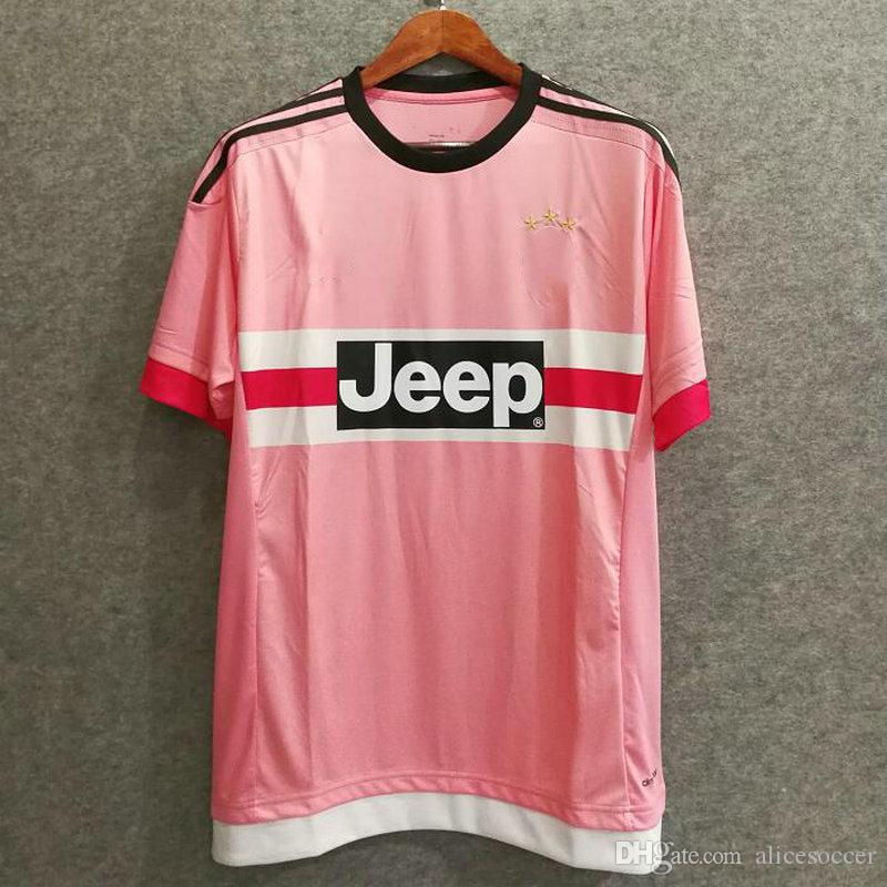 2b9dc1649f1 2019     Wholesale 15 16 Retro JuvenTUS Soccer Jerseys Pink Serie A  Champions Thai Quality Custom PIRLO DYBALA 21 Football Shirts Coppa Italia  From ...