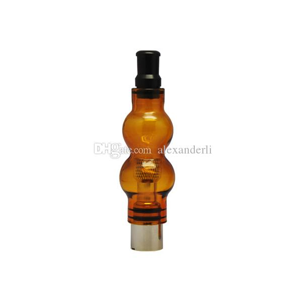 E Cigarettes Coloful Double Deck Glass Globe Atomizer Wax Dry Herb Vaporizer Glass Tank With Replacement Coil Head Gourd Vapor Clearomizer