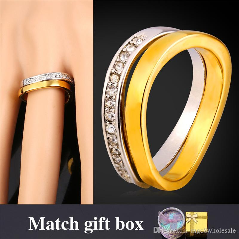 U7 Wedding Couple Rings For Men Women 18k Real Gold Platinum Plated