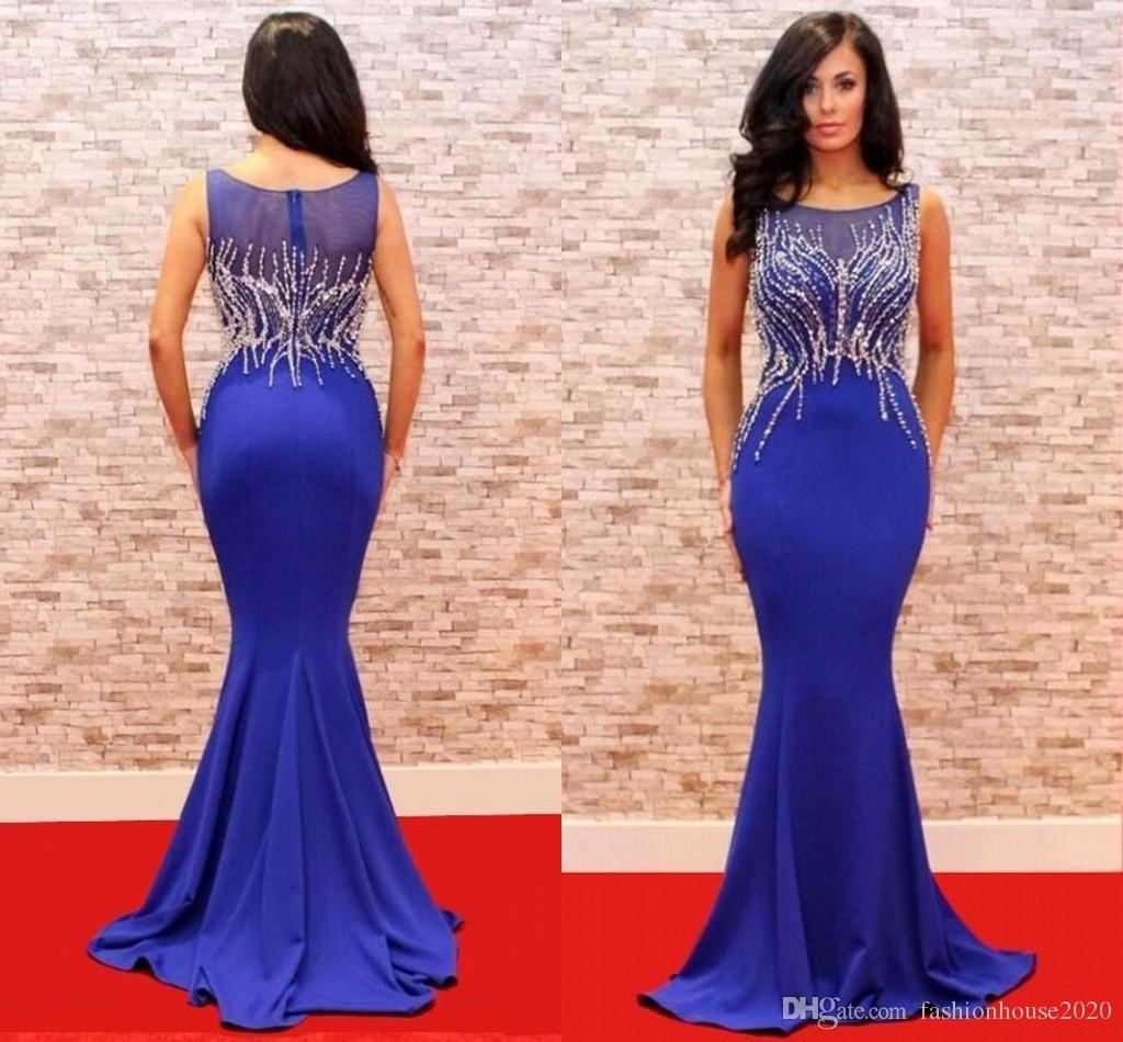 2017 Cheap Royal Blue Prom Dresses Sleeveless Illusion Crystal Beaded Mermaid Formal Special Occasion Evening Dress Party Gowns For Women