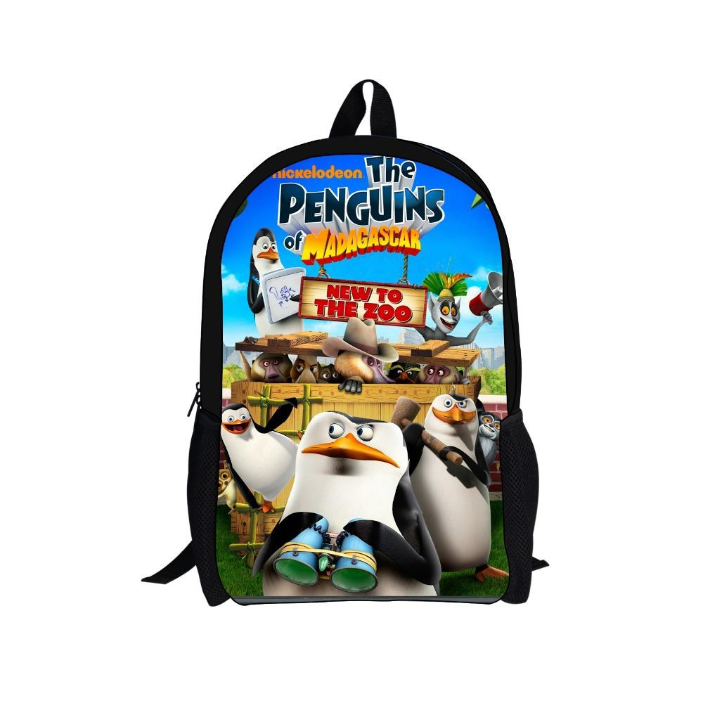 the penguins of madagascar cartoon backpacks for boys gifts