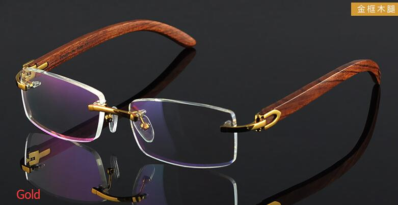 6d570a15702 Wooden Feet Mens Rimless Eyeglass Frames High End Business Optical Frame  Men Eyeglasses Gold .