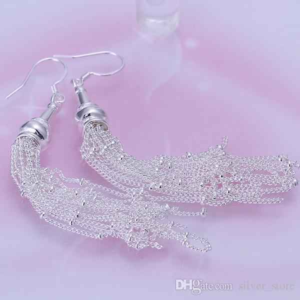 브랜드의 새로운 스털링 실버 여성의 925 실버 매달려 샹들리에 귀걸이, Links18 와이어 귀걸이 DFMSE113 10쌍 많이 도금